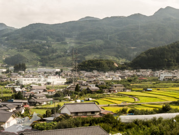 日本三大車窓のひとつ姥捨、棚田も見える