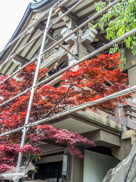 本堂は2階にあります。周りの鉄柵は修理のための足場?それともお祭りの寄進札をつける準備?