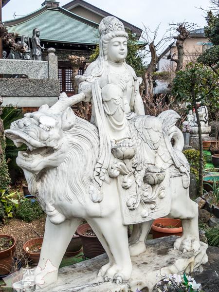 獅子に乗っているので文殊菩薩でしょうか?乗り方、座り方、持物、台座すべてが変速的です。。。
