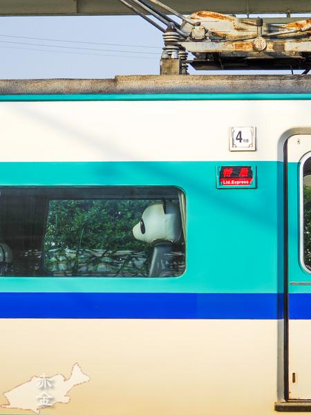 新宮駅にて。パンダが乗車した電車を発見!