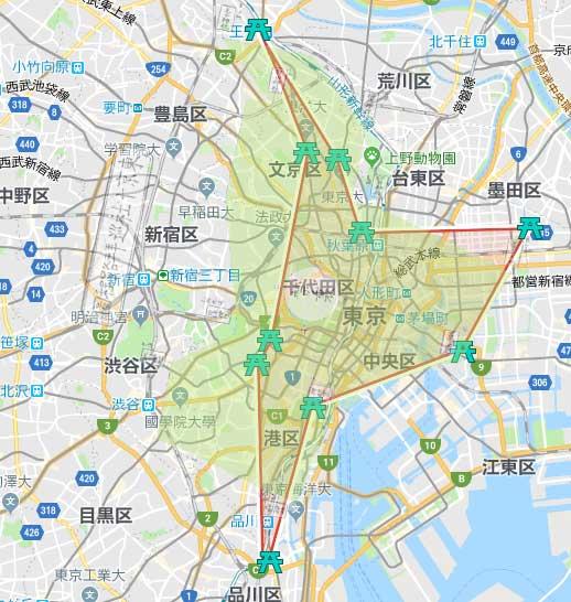 東京十社御朱印帳で10か所を結んだラインと実際の地図を比較した図